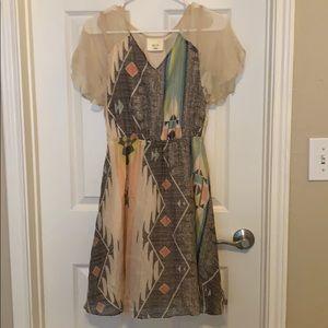 Anthropologie Maeve Aztec feminine dress